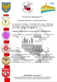 Zaproszenie na uroczystości związane z obchodami 100 rocznicy Odzyskania Niepodległości